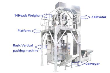 Multihead Weigher Automatic Vertical Packaging Machine PLC Kontrol Untuk Makanan Ringan / Chips / Kacang Kacang